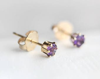 "tiny 14k goldfilled stud earrings - petite everyday jewelry - amethyst gemstones - ""nova"" earrings by elephantine"