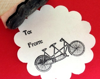 Tandem Bicycle Bike Rubber Stamp Sz. Small - Handmade by BlossomStamps