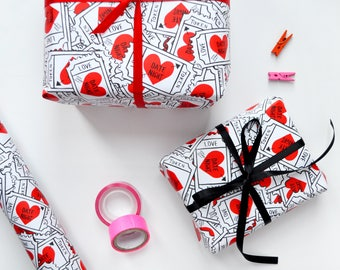 Illustrated Wrapping Paper  |  Love Token Paper | Wedding Gift Wrap | Anniversary Gift Wrap