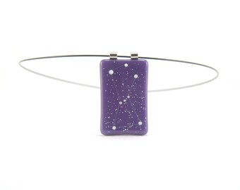 Constellation necklace Orion the Hunter, gold purple and phosphorescent white, cosmic glow in the dark fused glass, astronomy jewelry