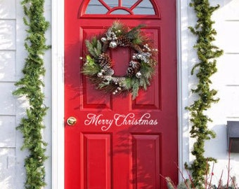 Merry Christmas Front Door Decal Greeting