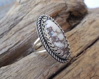 Wild Horse magnesite ring handmade in sterling silver 925