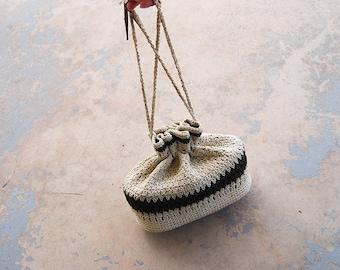 vintage 40s Drawstring Wristlet - 1940s White and Brown Crochet Cord Handbag Box Purse
