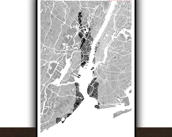 New York Map Statue of Liberty Poster Monument Art print Map Impression Design Cartography