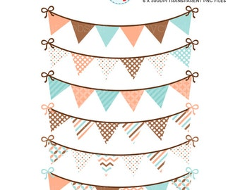 Bunting Clipart Set - peach, brown, mint - patterned bunting clip art set, party - personal use, small commercial use, instant download