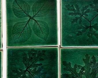 botanic leaf ceramic decor tile: design hand made green glaze craftsman inspired DIY tile