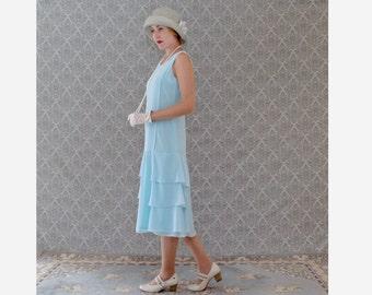 Baby blue Roaring 20s dress with tiered skirt,  Great Gatsby tea dress, 1920s flapper dress, blue Charleston dress, 20s bridesmaid dress