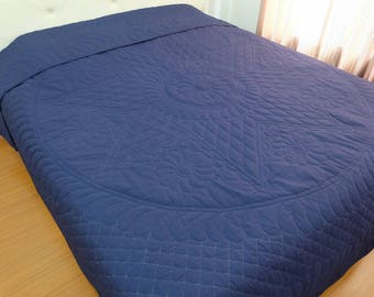 Amish Mennonite Quilt, Heirloom cotton quilt in king size, Whole Cloth Quilts, Reversible quilt, feathers &star, Vintage Navy, Hand Stitched