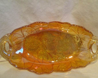 Irridescent  Amber Carnival Glass candy or nut dish