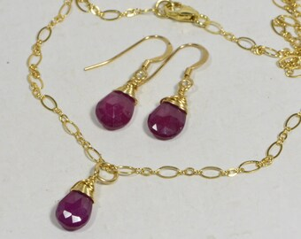 Natural Ruby Jewelry Set Wire Wrapped 14K Gold  Birthstone Jewelry Birthday July Necklace Earrings Ruby
