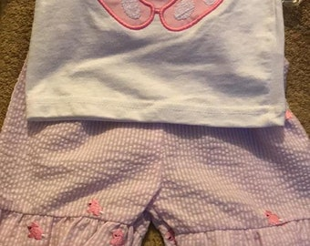 Girls 2 piece Bunny ruffle Short Set -