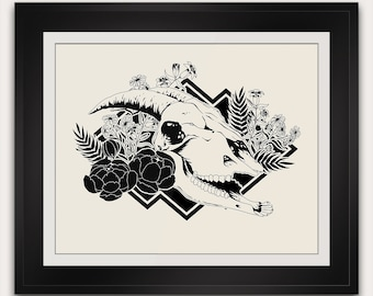 A Wolf in Sheeps Clothing Art Print - Goat Skull - Voodoo - 8x10 Inches - Paleontology Taxidermy Handmade Screenprint Grim Dark Deco Poster