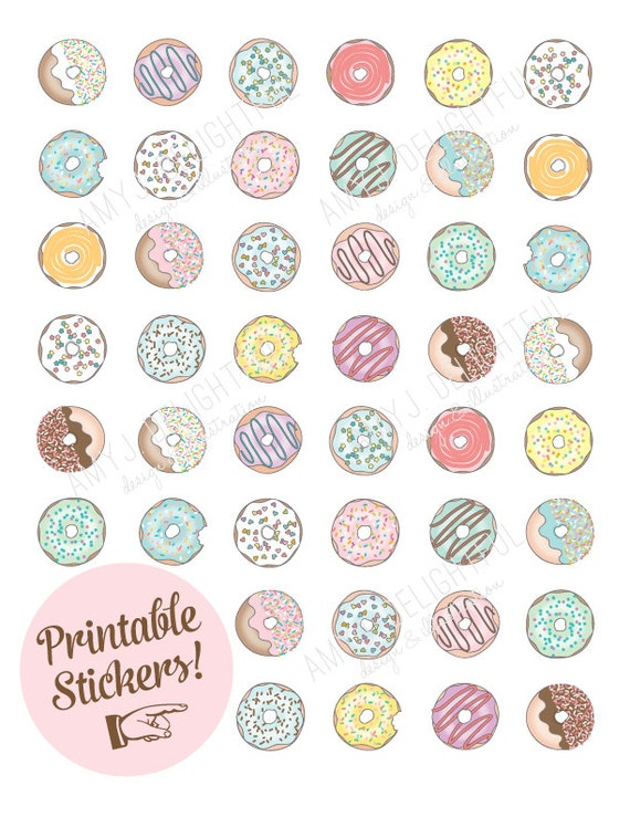 Printable donut stickers digital file instant