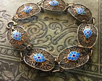 1920s Filigree and Stunning Blue Enamel Bracelet