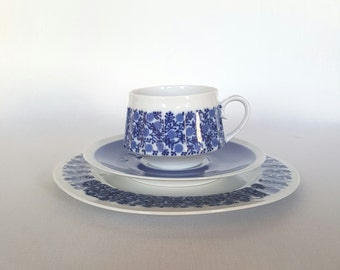 Stunning Doria cup, saucer and side plate set by Raija Uosikkinen for Arabia Finland 1965 - 1971