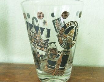 NATO commemerative Barware,Retro shot glasses, 1952 set of 12 glassware, USA shot glasses, NATO vintage glassware, black and gold glasses
