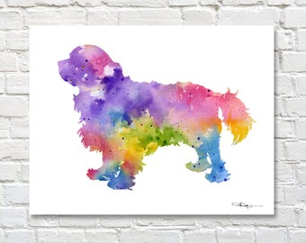 Cavalier King Charles Spaniel Art Print - Abstract Watercolor Painting - Wall Decor