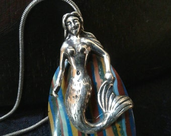 "Sterling Silver Mermaid Pendant Necklace Rainbow Calsilica Large Topless Fish Tail Woman Beach Ocean Fantasy Jewelry 18"" 925 Snake Chain"