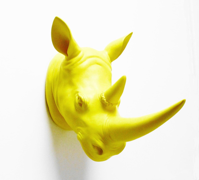 Safari Yellow Rhino Faux Rhino head Rhino Head Rhino Faux
