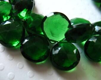 Emerald Green QUARTZ Green Briolettes Heart Beads / 2-10 pcs, 10.5 mm, Tourmaline Green May October Birthstone hydqtz54 bsc solo