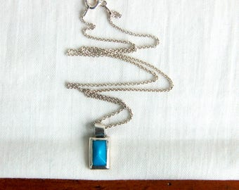"""Modern Blue Necklace Blue Rectangle Vintage Mexican Sterling Silver Faux Turquoise Geometric Minimalist Jewelry 16"""" Chain"""