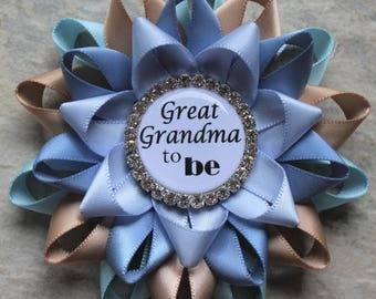 Great Grandma Pin, Grandma Gift, Baby Shower Gift, New Grandmother Gift, Pregnancy Reveal, Light Blue, Champagne, French Blue, Ice Blue