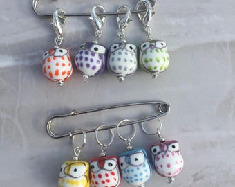 Owl Stitch Markers, stitch markers, knitting supplies, progress markers, progress keepers, crochet markers