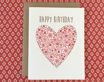 Floral Heart Birthday Letterpress Card