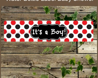 Baby Shower Water Bottle Label, Instant Download, DIY Red and Black Its a Boy Printable Favor Label