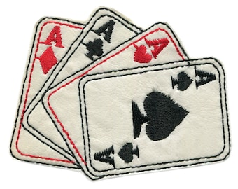 Vintage Style 4 Aces Poker Playing Card Patch