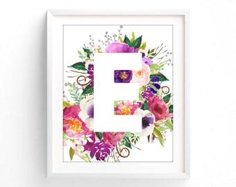Monogram. Nursery Letter, Purple Floral Series