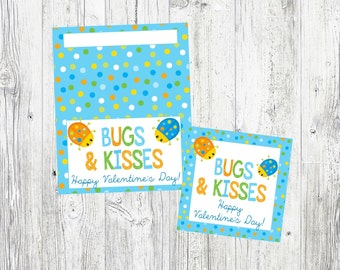 Bugs & Kisses Valentine's Day Bag Toppers and Tags. Instant Digital Download. Bug Valentines for Class Party, Valentine Exchange.