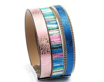 Blue pink leather bracelet, magnetic clasp bracelet, chic cuff wristband, colorful leather bracelet, vegan jewelry for women, gift for her