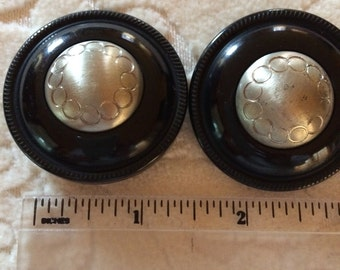 Large Metal on Black Plastic Buttons