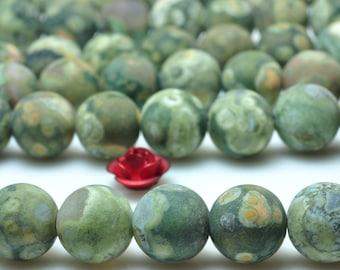 47 pcs of Green Birds Eye Rhyolite matte round beads in 8mm