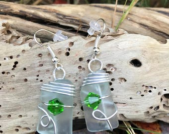 Wire wrapped White Sea glass earrings with green crystal beads, beach glass earrings on silver plated earring hooks, green crystal earrings