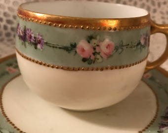 AK Limoges Antique Rare from France, Cup and Saucer