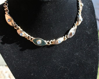 Gold Necklace Choker Blue Rhinestone