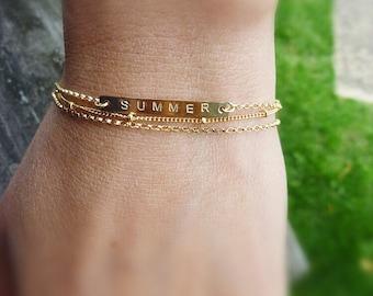 Personalized Bracelet Set-Nameplate Bracelet-Engraved Bar Bracelet-Satellite Chain Bracelet-Multi Chain Bracelet-Bar Bracelet-Momentusny