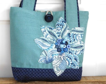 Blue Tote, Handmade Fabric Bag, Turquoise Tote Bag forTeachers Gift, Navy Shoulder Bag Blue, Turquoise Bag Flower Tote  Large Purse Navy