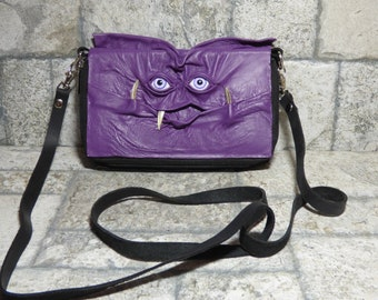 Sac à main portefeuille Cross Body avec visage petit monstre Harry Potter labyrinthe violet en cuir noir sangle amovible transformable 394