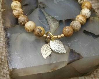 Jasper Leaves Bracelet