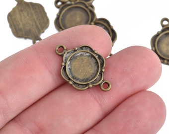 5 Bronze Connector Charms with Floral Design and Bezel Tray fits 10mm cabochon chs4171