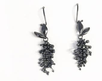 Mini Sprouted Thistle Earrings, Sterling Silver, Contemporary Jewellery, kinetic earrings
