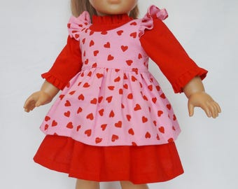 """18"""" Doll Dress- Red and Pink Dress w/ Red Hearts - Dress and Pinafore - American Made Girl Doll Clothes - 18 inch doll clothes"""