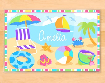 Olive Kids Personalized Summer Time Placemat, Kids Placemat, Beach Placemat, Ocean Placemat, Laminated Placemat