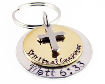 Spiritual Gangster Hand Stamped Scripture  Key chain | Matthew 6:33 | Bible Verse | Holiday Stocking Stuffer | Gifts for Everyone