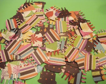100 BIRTHDAY PARTY CAKES Card Making Scrapbooking Embellishments or Confetti Punchies