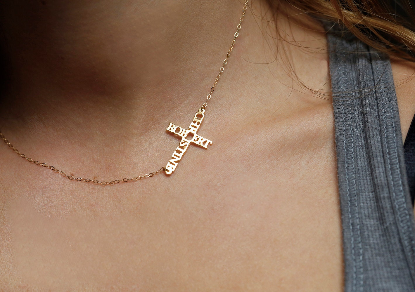 Super Personalized Cross Necklace Gold Name Necklace Cross Name VX89