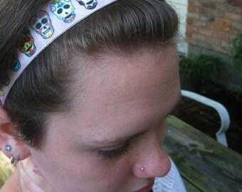 Mexican sugar skulls, no slip headband.